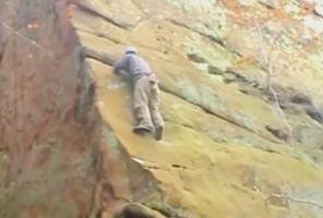 Klettern an einer steilen Wand
